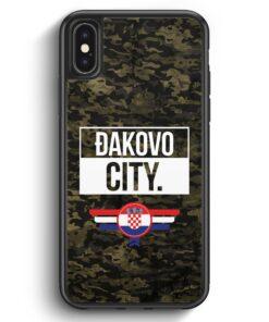 iPhone X & iPhone XS Silikon Hülle - Dakovo City Camouflage Kroatien