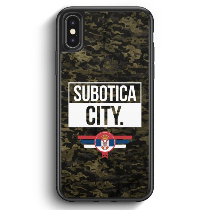 iPhone X & iPhone XS Silikon Hülle - Subotica City Camouflage Serbien