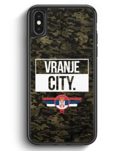 iPhone X & iPhone XS Silikon Hülle - Vranje City Camouflage Serbien