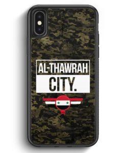 iPhone X & iPhone XS Silikon Hülle - Al Thawrah City Camouflage Syrien