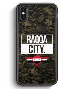 iPhone X & iPhone XS Silikon Hülle - Raqqa City Camouflage Syrien