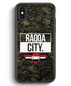 iPhone X & iPhone XS Silikon Hülle - Raqqa City Camouflage Syrien