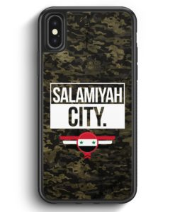 iPhone X & iPhone XS Silikon Hülle - Salamiyah City Camouflage Syrien