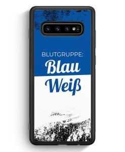 Samsung Galaxy S10e Silikon Hülle - Blutgruppe Blau Weiß