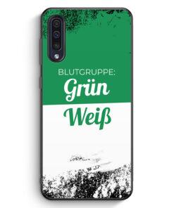 Samsung Galaxy A50 Silikon Hülle - Blutgruppe Grün Weiß