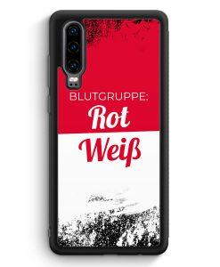 Huawei P30 Silikon Hülle - Blutgruppe Rot Weiß