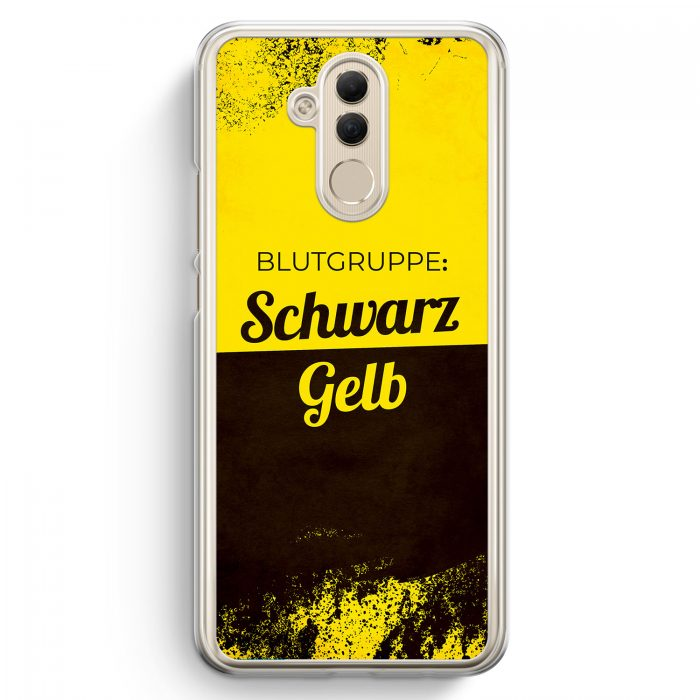 Huawei Mate 20 Lite Hardcase Hülle - Blutgruppe Schwarz Gelb