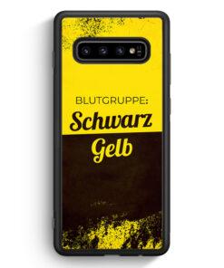 Samsung Galaxy S10 Silikon Hülle - Blutgruppe Schwarz Gelb