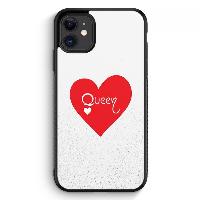 iPhone 11 Silikon Hülle - Queen Spielkarten #02