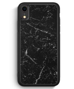 iPhone XR Silikon Hülle - Marmor Marble Schwarz
