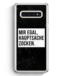 Samsung Galaxy S10+ Plus Hardcase Hülle - Mir Egal Hauptsache Zocken