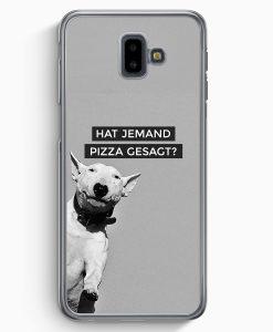 Samsung Galaxy J6+ Plus (2018) Hardcase Hülle - SW Bullterrier Pizza?