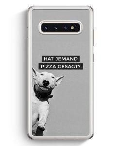 Samsung Galaxy S10+ Plus Hardcase Hülle - SW Bullterrier Pizza?