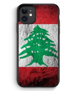 iPhone 11 Silikon Hülle - Libanon Splash Flagge