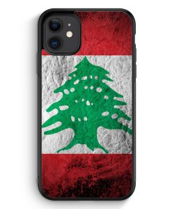 iPhone 11 Silikon Hülle - Libanon Splash Flagge