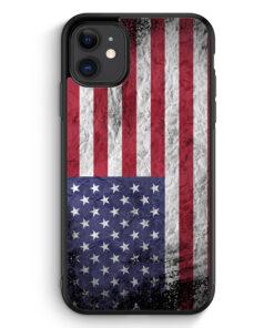 iPhone 11 Silikon Hülle - USA Amerika Splash Flagge