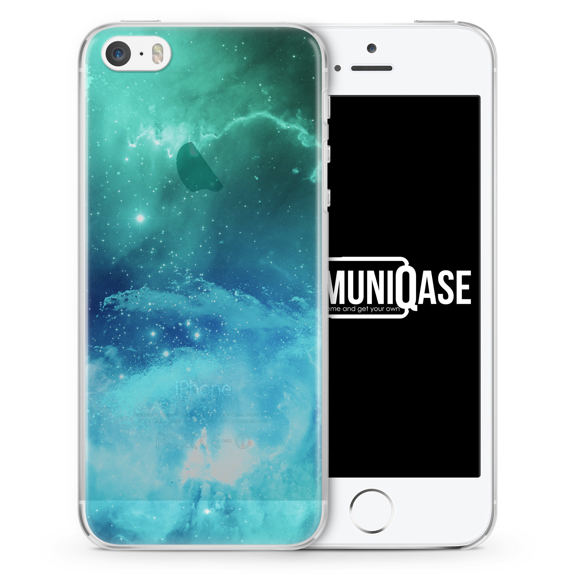 Galaxy Universe Nebula Blau-Grün - transparente Handyhülle für iPhone SE