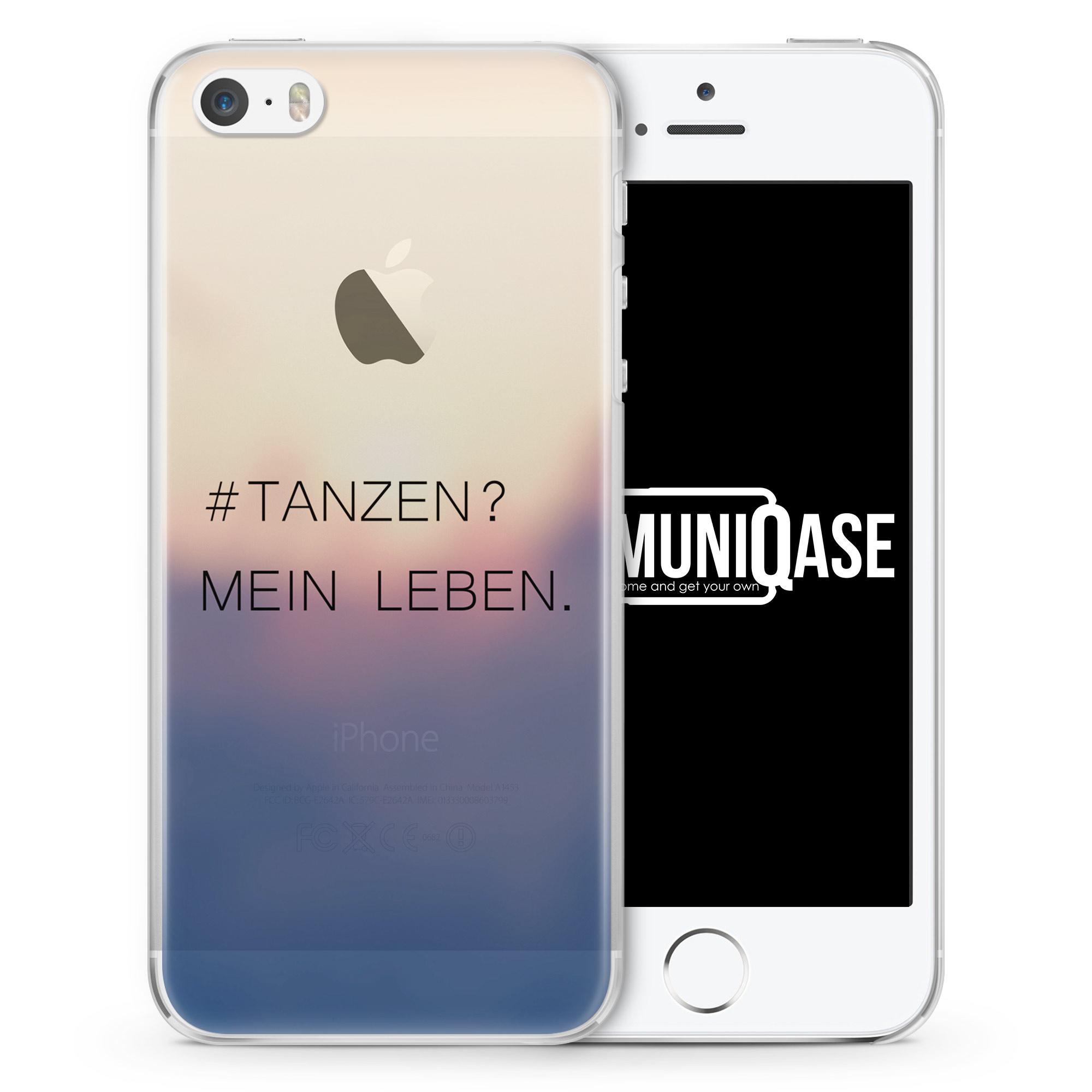 Tanzen? Mein Leben. Schwarz - transparente Handyhülle für iPhone SE