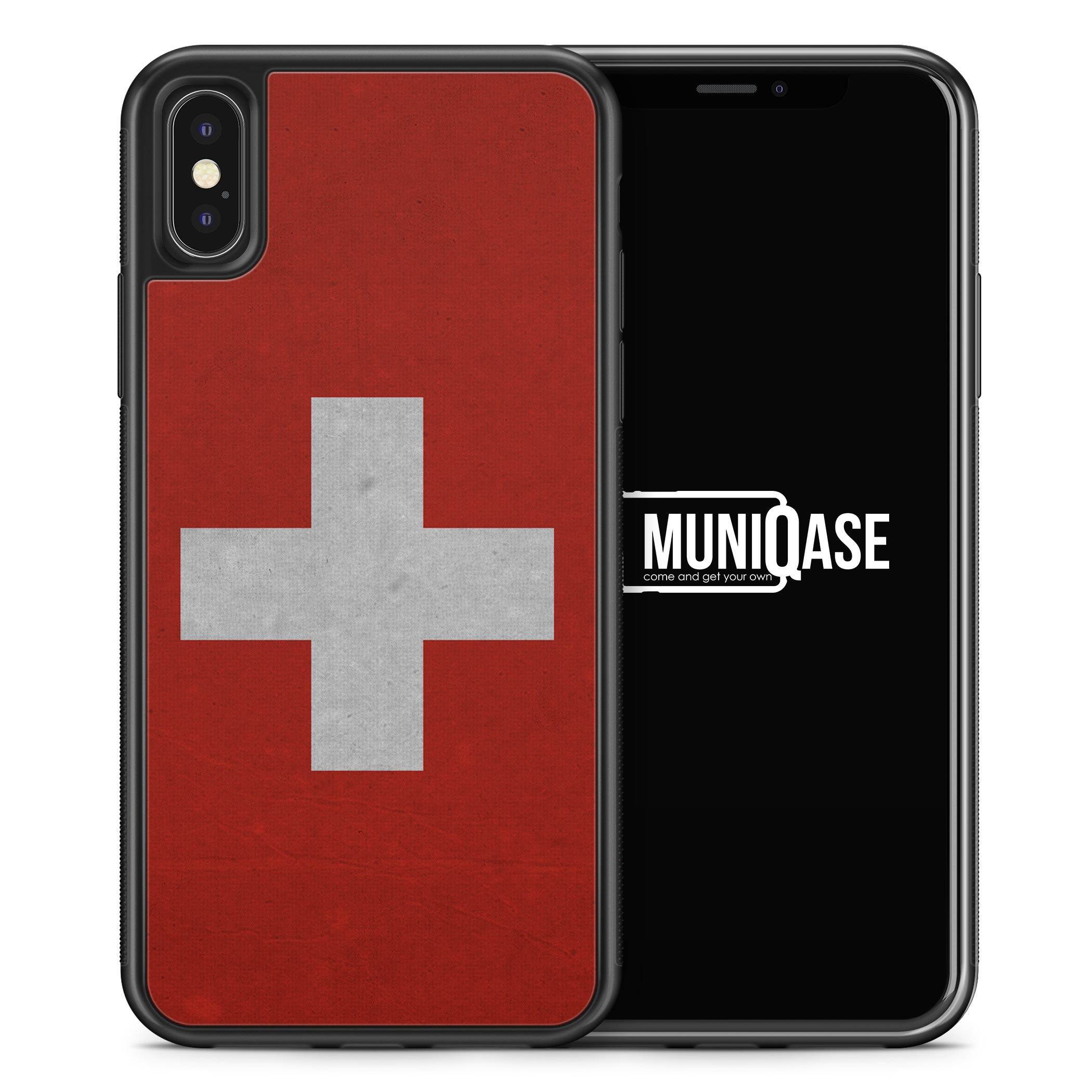 iPhone X Hülle SILIKON - Schweiz Flagge Neu