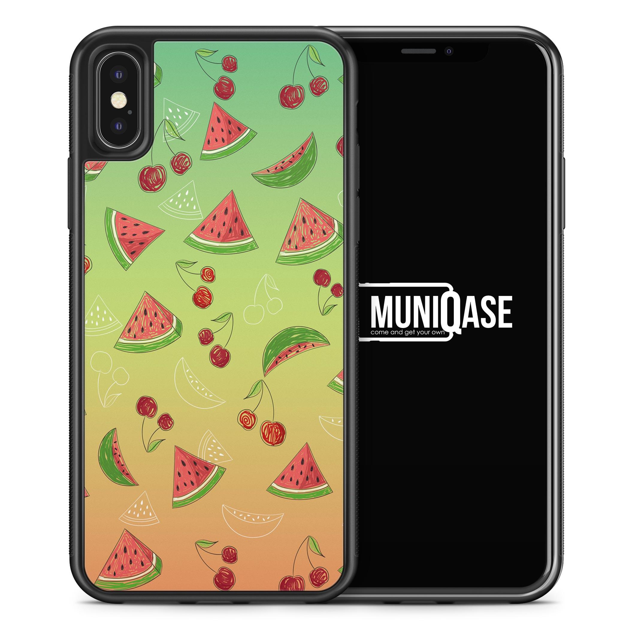 iPhone X Hülle SILIKON - Wassermelonen Kirsche Muster