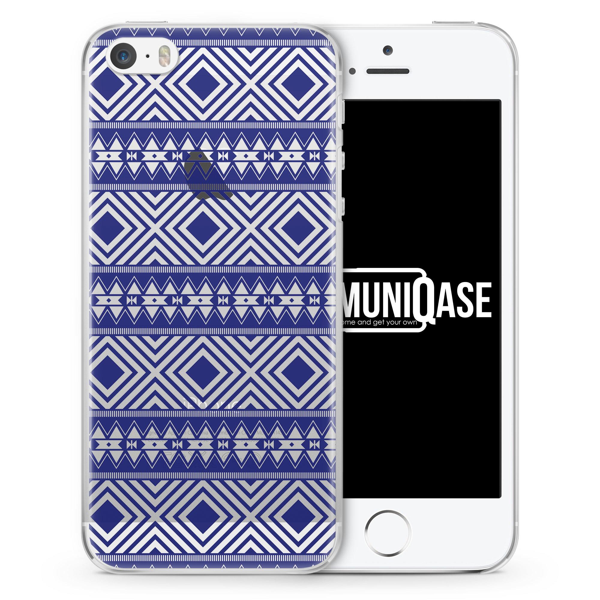 Navajo Muster Blau - transparente Handyhülle für iPhone SE