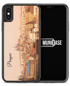 iPhone X Hülle SILIKON - Prague Prag Schriftzug Skyline Foto