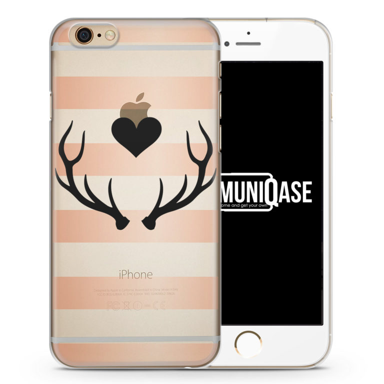 Hirsch Love Design Rosé Schwarz - transparente Handyhülle für iPhone 6 Plus & 6s Plus