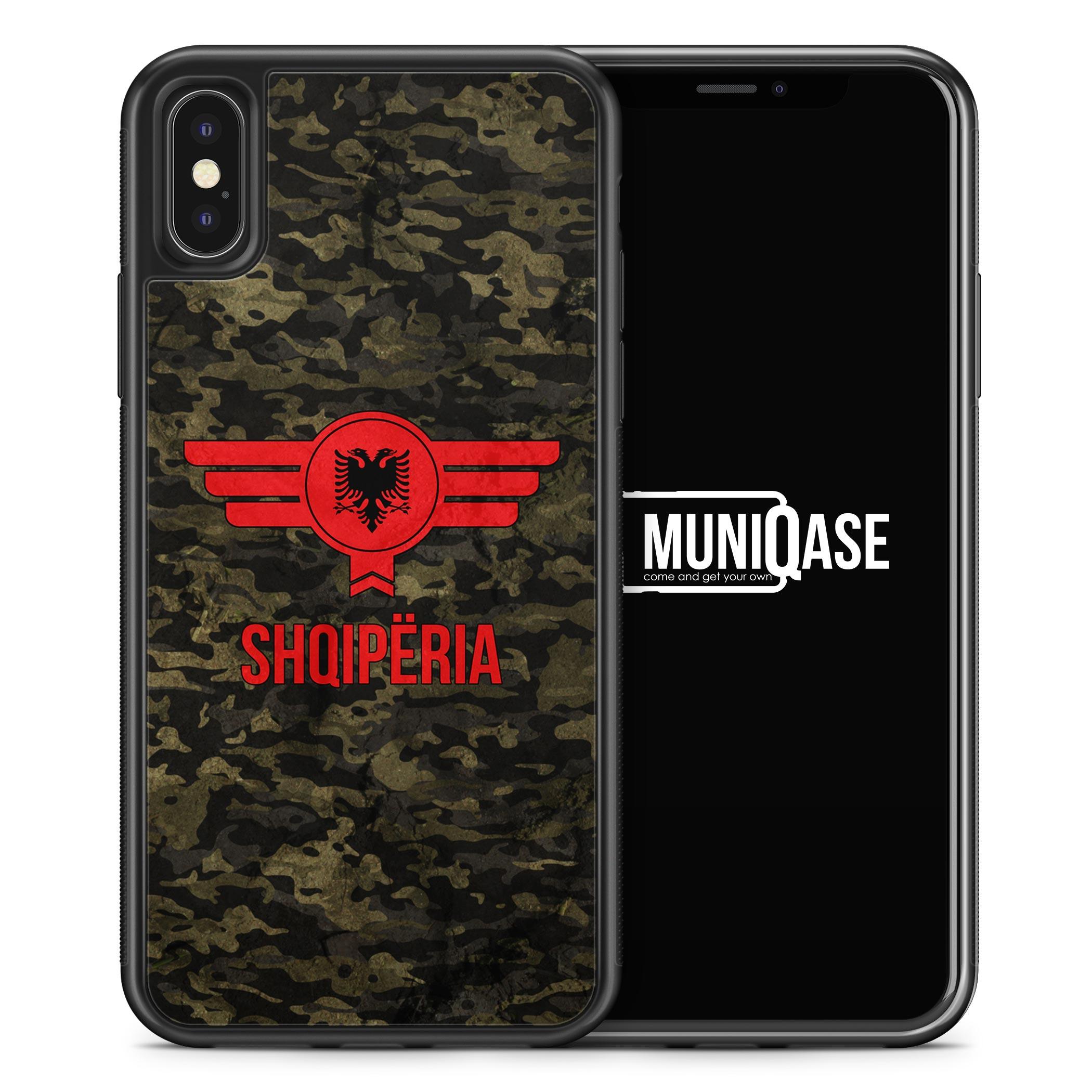 iPhone X Hülle SILIKON - Albanien Camouflage mit Schriftzug