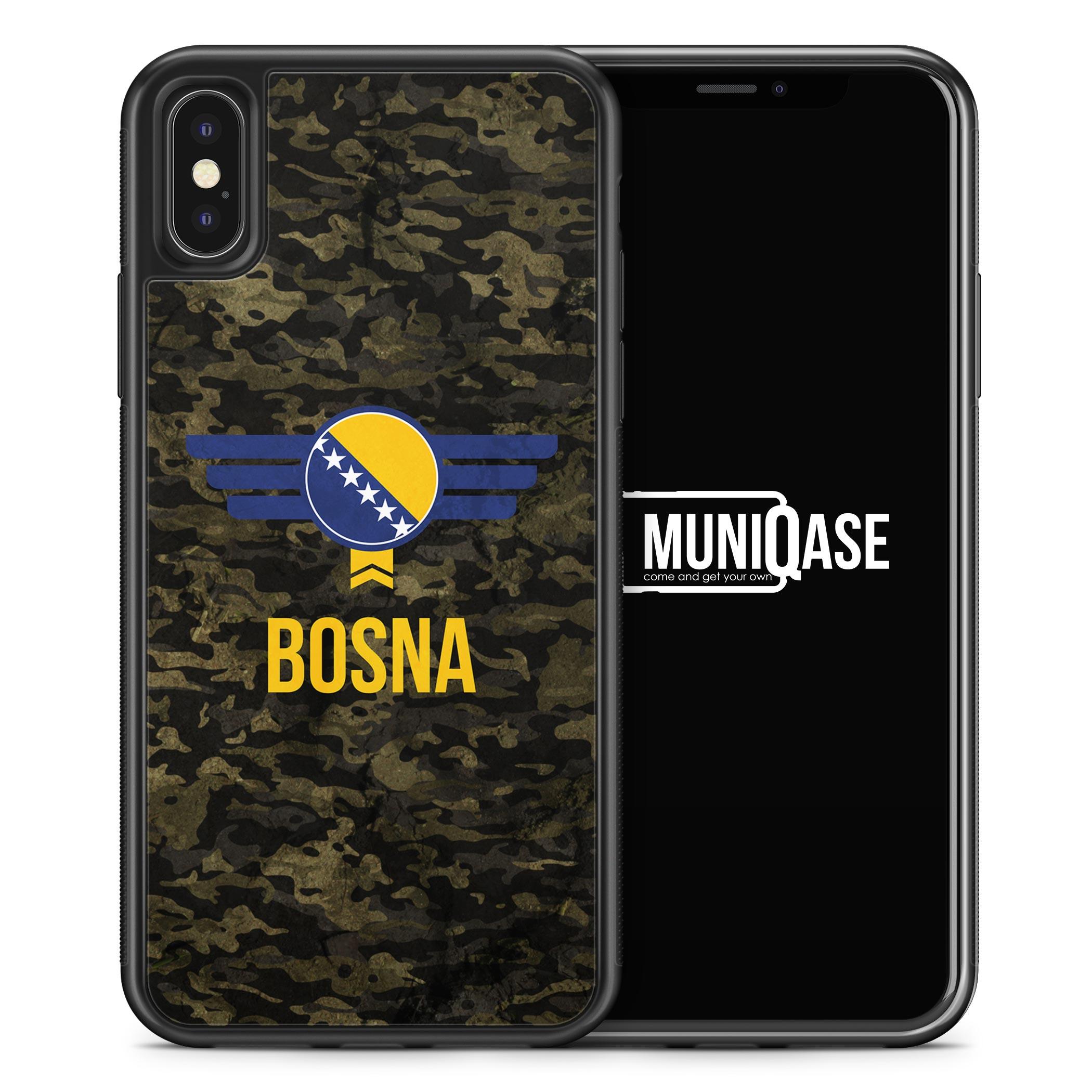 iPhone X Hülle SILIKON - Bosna Bosnien Camouflage mit Schriftzug
