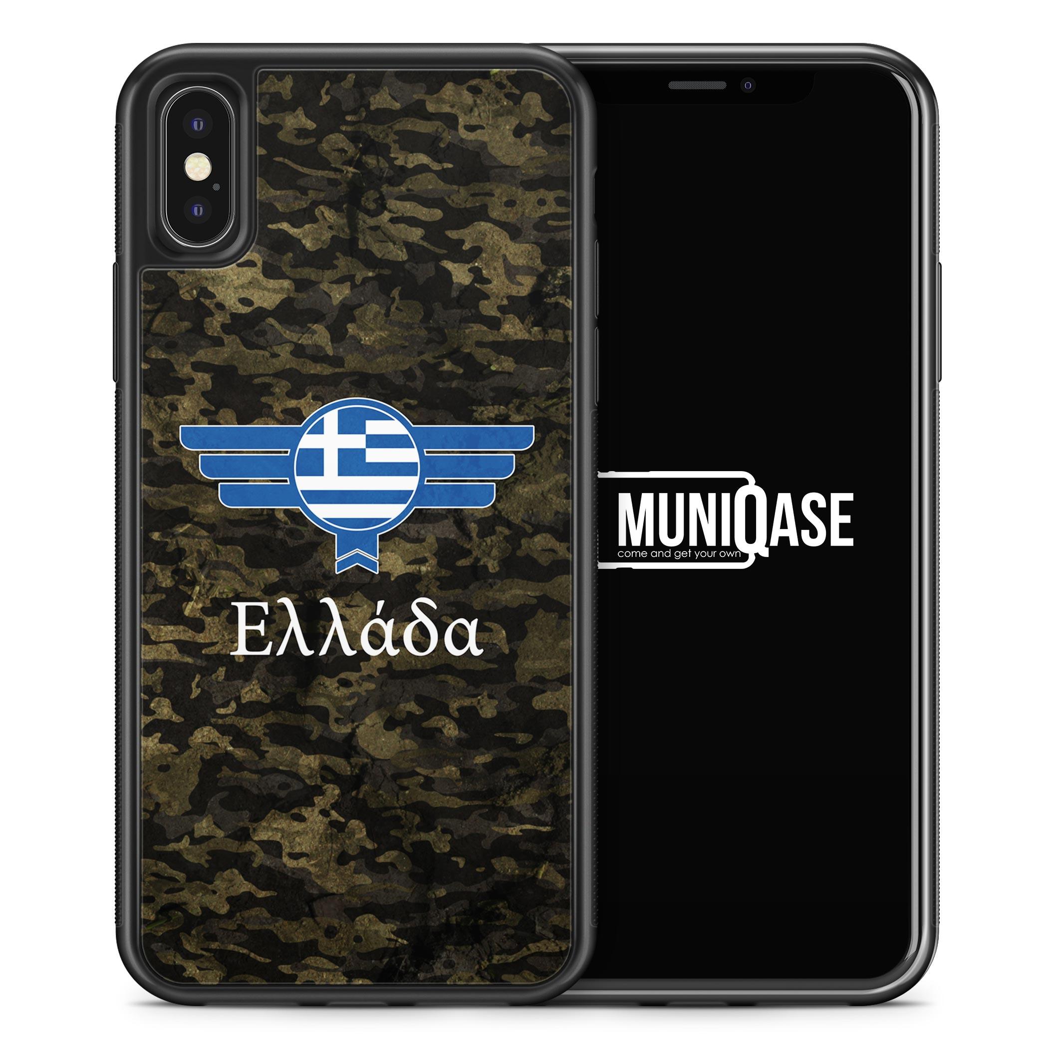 iPhone X Hülle SILIKON - Hellas Griechenland Camouflage mit Schriftzug
