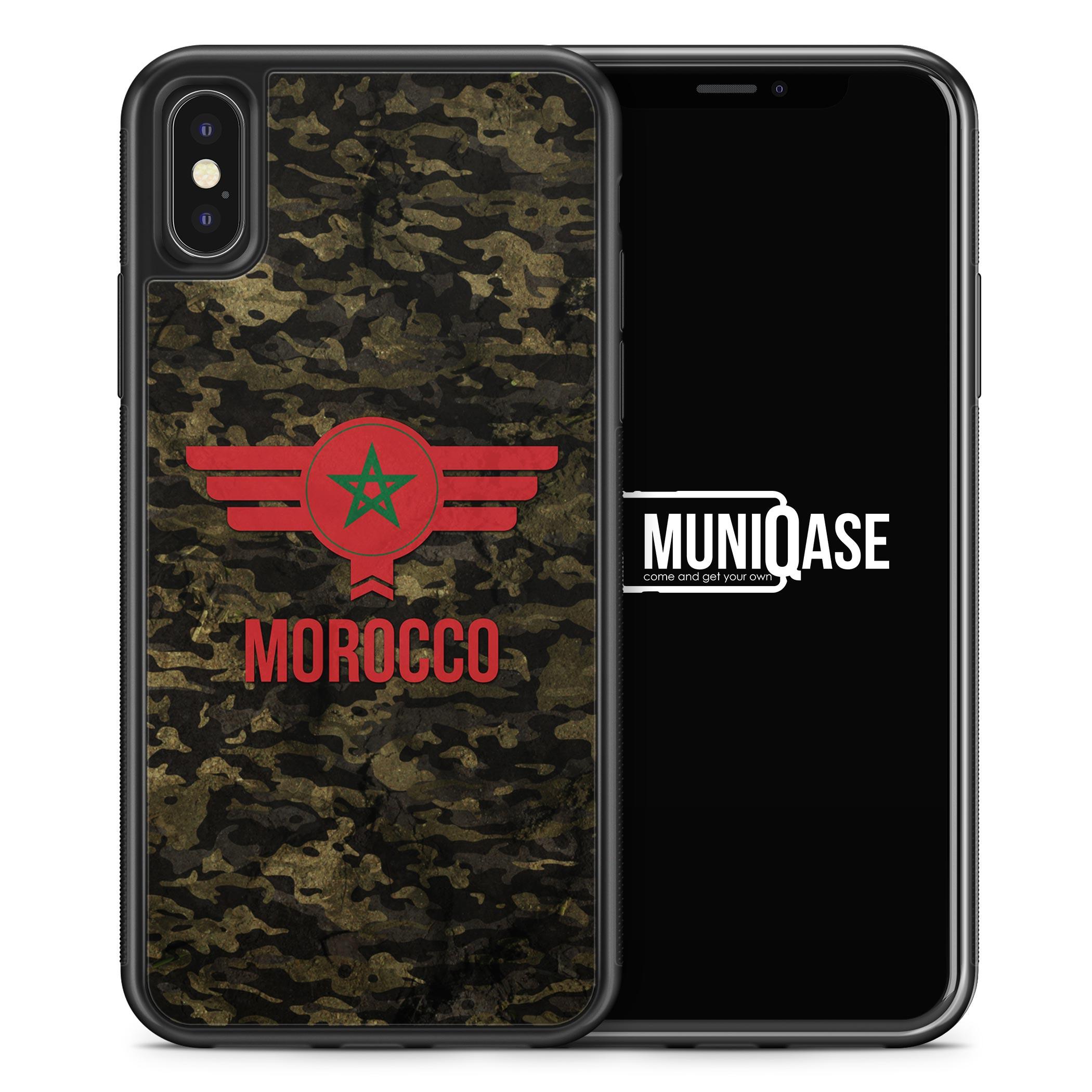 iPhone X Hülle SILIKON - Marokko Morocco Camouflage mit Schriftzug