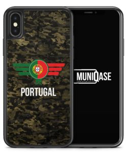 iPhone X Hülle SILIKON - Portugal Camouflage mit Schriftzug