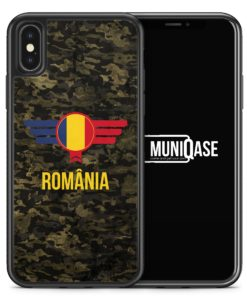 iPhone X Hülle SILIKON - Romania Rumänien Camouflage mit Schriftzug