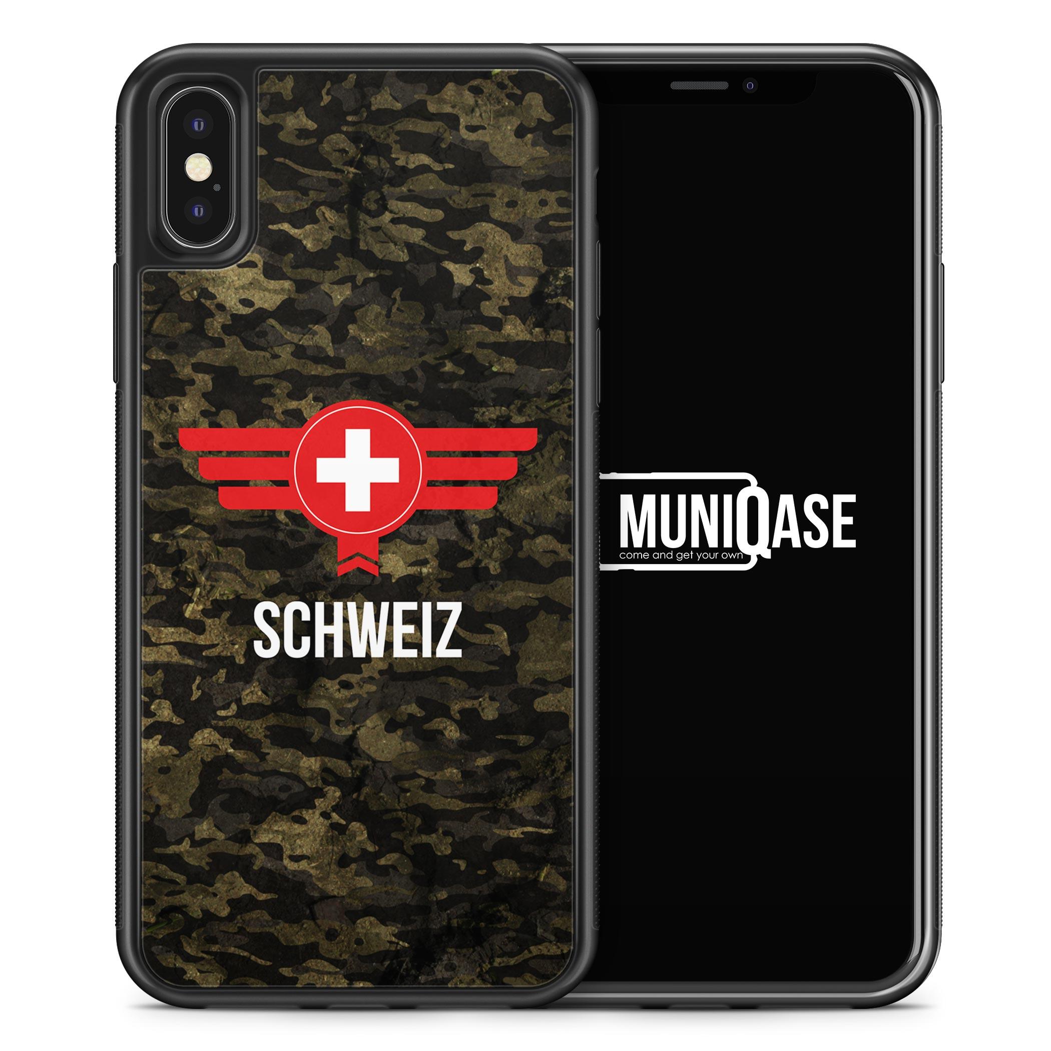 iPhone X Hülle SILIKON - Schweiz Camouflage mit Schriftzug