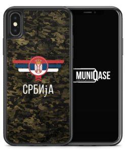 iPhone X Hülle SILIKON - Srbija Serbien Camouflage mit Schriftzug