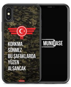 iPhone X Hülle SILIKON - Korkma Sönmez Türkiye Türkei Camouflage