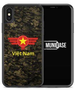 iPhone X Hülle SILIKON - Vietnam Camouflage mit Schriftzug
