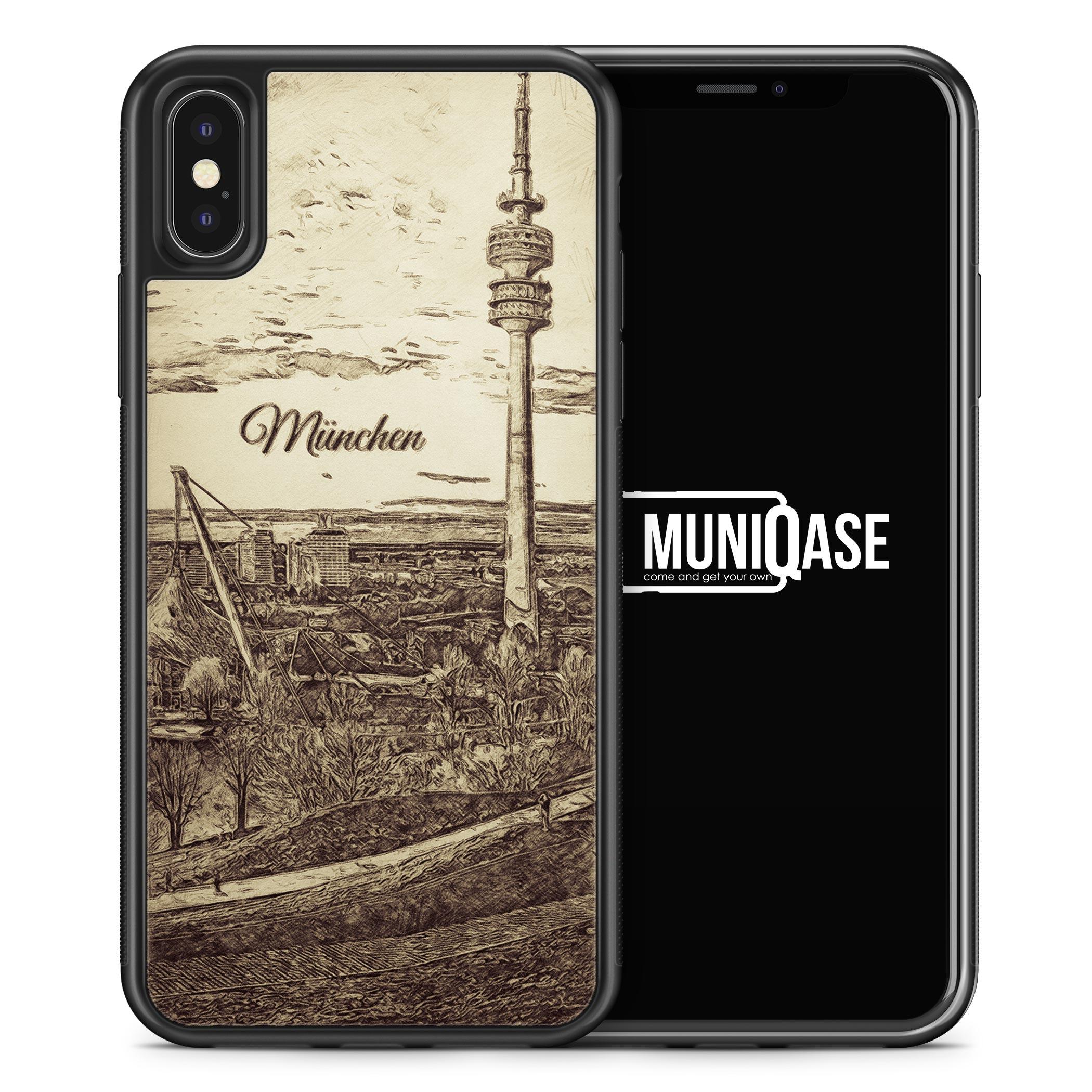 iPhone X Hülle SILIKON - Vintage Panorama München Olympiaturm