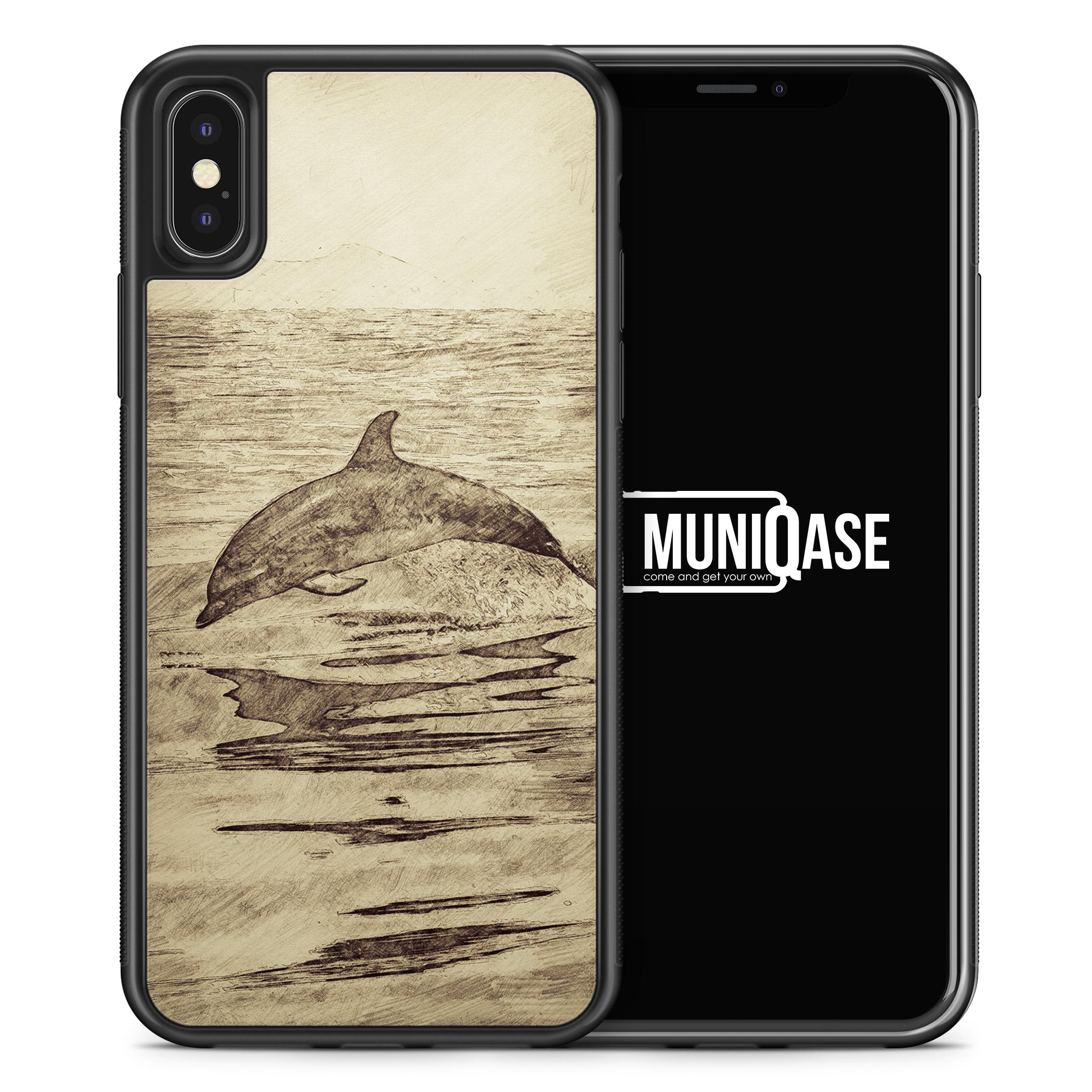 iPhone X Hülle SILIKON - Vintage Delfin Delphin