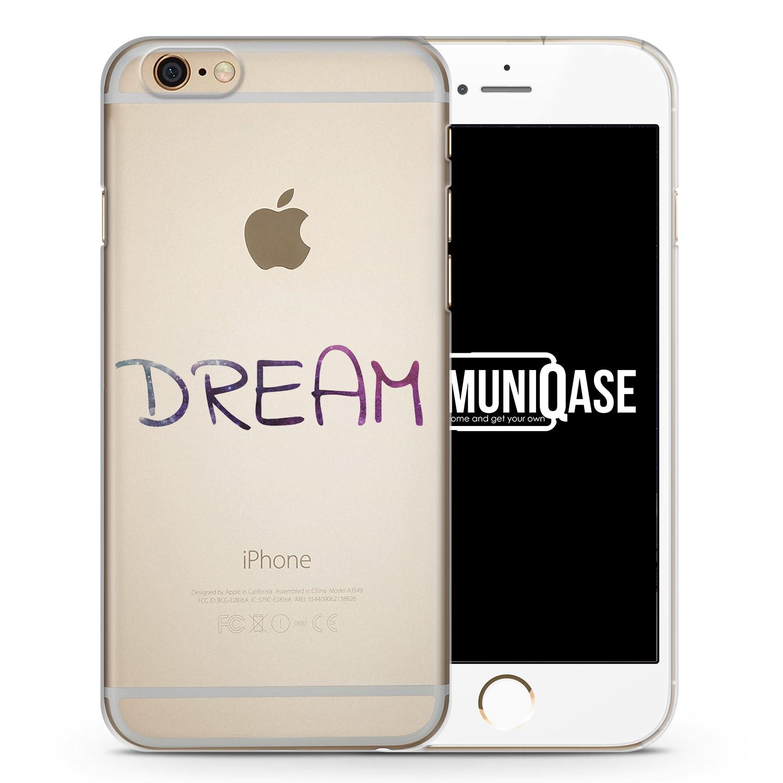 Dream Schriftzug Lila - transparente Handyhülle für iPhone 6 Plus & 6s Plus