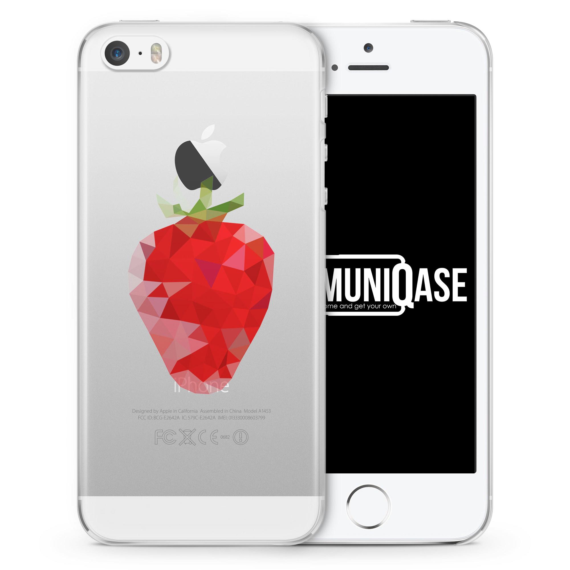 Erdbeere Abstrakt - transparente Handyhülle für iPhone SE