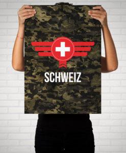 Schweiz Camouflage mit Schriftzug - Poster