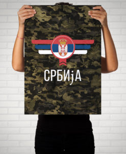 Srbija Serbien Camouflage mit Schriftzug - Poster