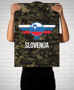 Slowenien Slovenija Camouflage mit Schriftzug - Poster