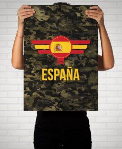 Spanien Espana Camouflage mit Schriftzug - Poster