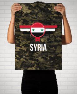 Syrien Syria Camouflage mit Schriftzug - Poster