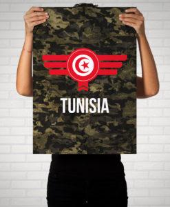 Tunesien Tunisia Camouflage mit Schriftzug - Poster