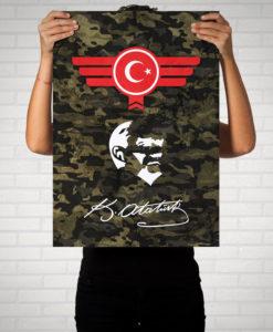 Atatürk Türkiye Türkei Camouflage - Poster