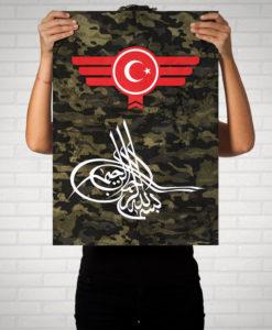 Osmanli Tugrasi Türkiye Türkei Camouflage - Poster