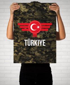 Türkiye Türkei Camouflage mit Schriftzug - Poster